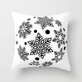 Snow Flakes Christmas Bauble - Black & White Throw Pillow