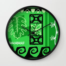 Hawaiian Pattern #1 - green! Wall Clock