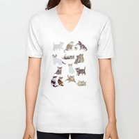 kittens V-neck T-shirts featuring Little Kittens by Yuliya