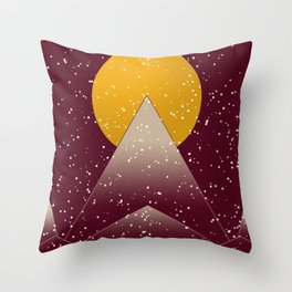Snowy Peaks-Woodblock Style Throw Pillow