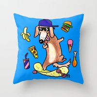 daschund Throw Pillows featuring Sausage Pup and his Potato Chip Skateboard by Natelle Draws Stuff