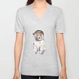 Laika Dog Watercolor Illustration Space Pup Unisex V-Neck