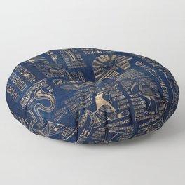Egyptian hieroglyphs and deities-gold on blue marble Floor Pillow