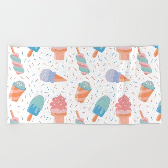 pastel ice cream pattern Beach Towel