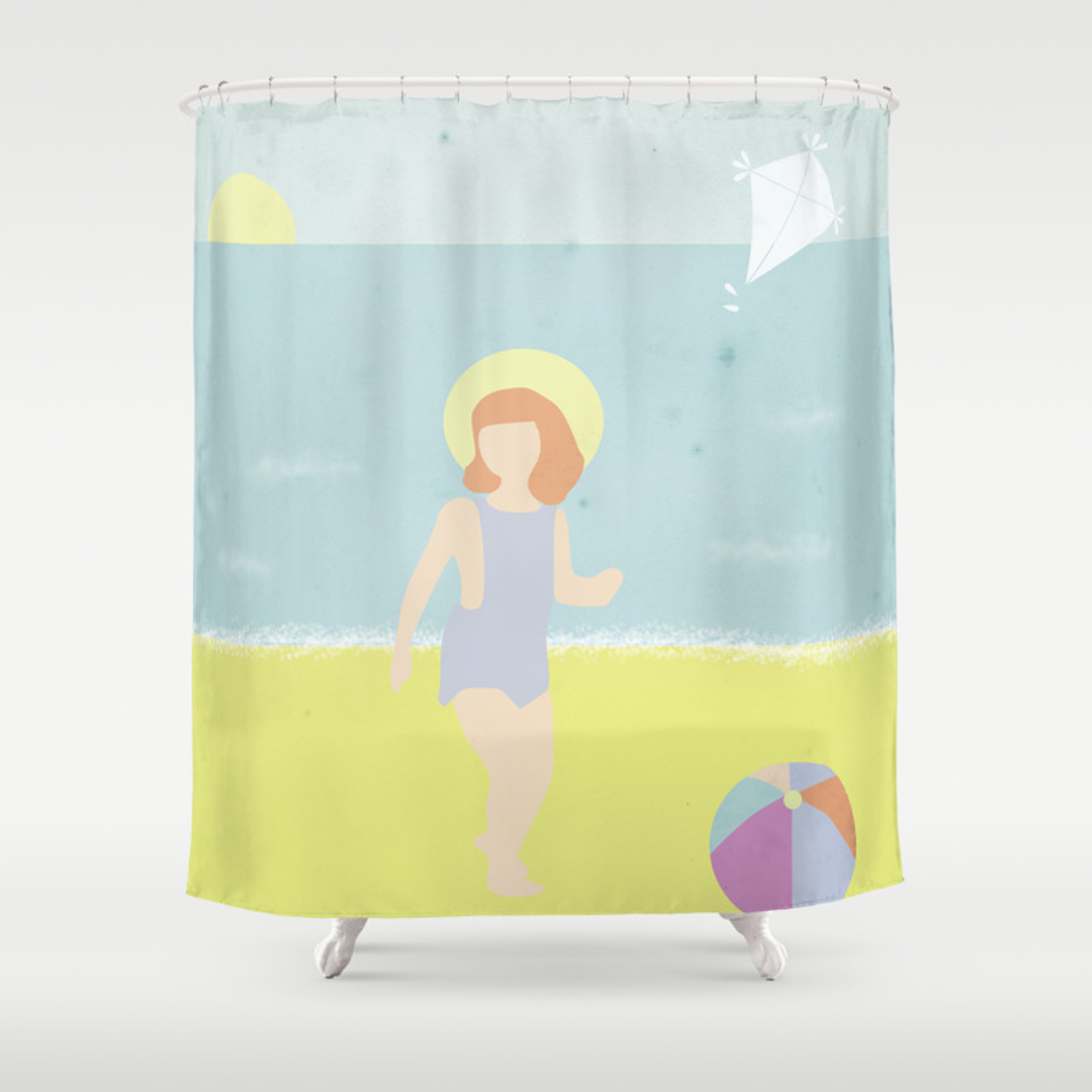 kite shower curtains society6. Black Bedroom Furniture Sets. Home Design Ideas