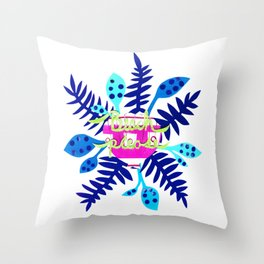 Beach Please-Blue Throw Pillow