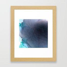 Rainbow on the horizon Fluid ink abstract watercolor Framed Art Print