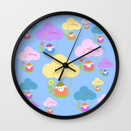 Cute baby sheep flying on clouds Wall Clock