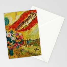 Above Paris (and bouquet of flowers) by Marc Chagall Stationery Cards