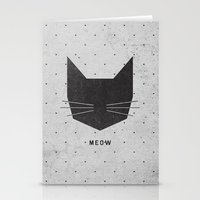 minimalist Stationery Cards featuring MEOW by Wesley Bird