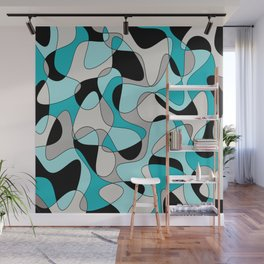 Abstract pattern - black and blue. Wall Mural