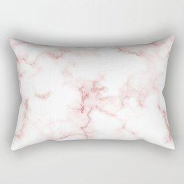 Pink Rose Gold Marble Natural Stone Gold Metallic Veining White Quartz Rectangular Pillow