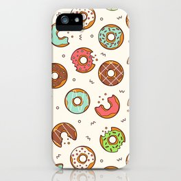 Retro Donut Pattern Cute Colorful Style iPhone Case