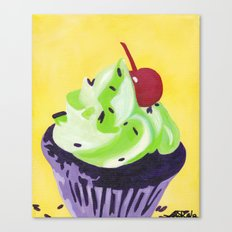 Green Cupcake Canvas Print