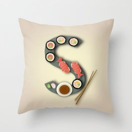 S is for Sushi. Throw Pillow