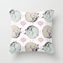 Sleepy Kitty Pattern Throw Pillow