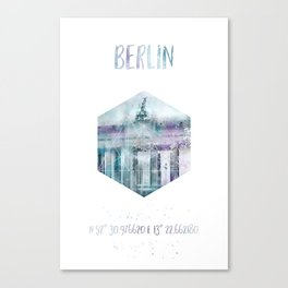 Coordinates BERLIN Brandenburg Gate | jazzy watercolor Canvas Print