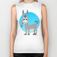 donkey Biker Tanks featuring Little donkey by tuditees