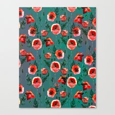 Dark Poppy Floral Canvas Print