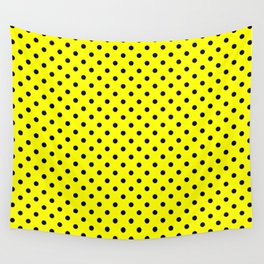Polka dots Black dots over yellow Wall Tapestry
