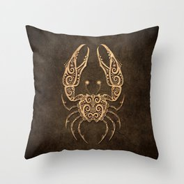 Vintage Rustic Cancer Zodiac Sign Throw Pillow