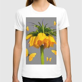 BUTTERFLIES YELLOW CROWN IMPERIAL FLOWERS T-shirt