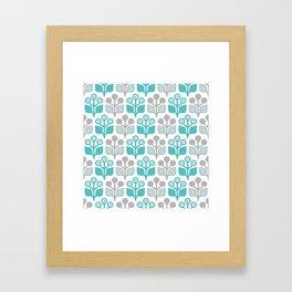 Mid Century Garden Flower Pattern Turquoise Grey Framed Art Print
