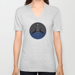 Champagne Gold Star Christmas Tree with Magical Reindeers | Dreamy Blue Unisex V-Neck