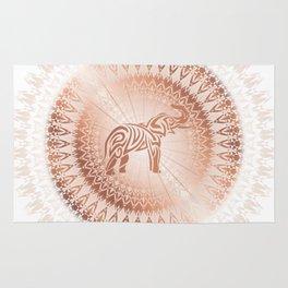 Rose Gold Elephant Mandala Rug