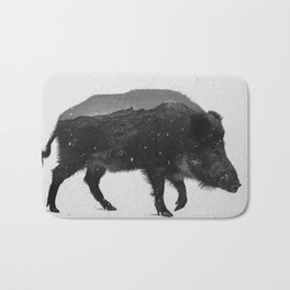 Wild Boar (B&W) Bath Mat