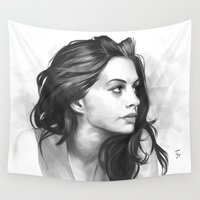 minimalist Wall Tapestries featuring Anne Hathaway minimalist illustration by Thubakabra