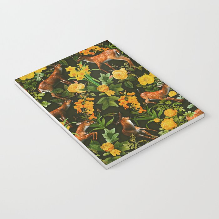 Deer and Floral Pattern Notebook