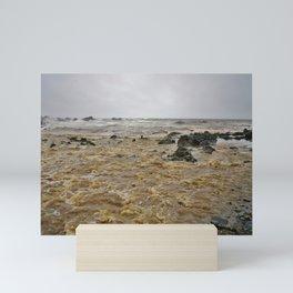 BOILING STORM FLOOD WATER DUCKPOOL BEACH CORNWALL Mini Art Print