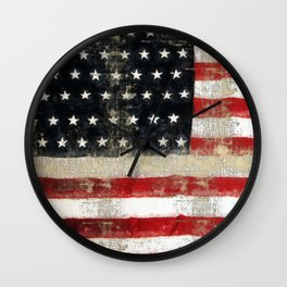 USA Flag ~ American Flag ~ Distressed Pattern ~ Ginkelmier Inspired Wall Clock