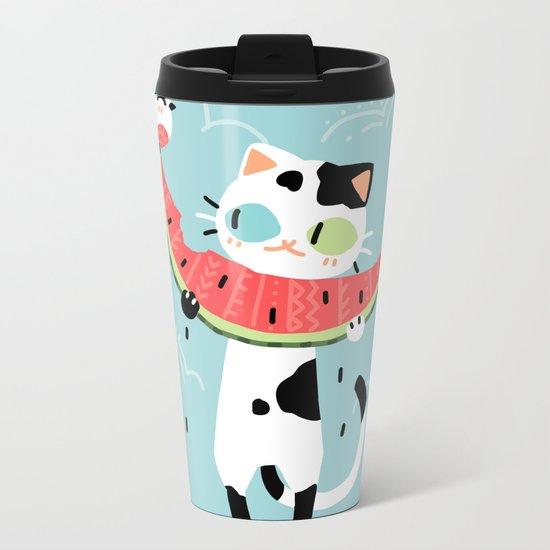 Watermelon Cat Metal Travel Mug