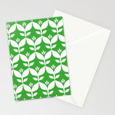 Grass green retro tulip floral Stationery Cards