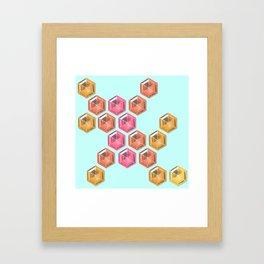 Summer Gradient Hexagon Gemstones Framed Art Print