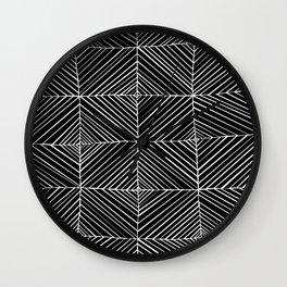 Black Diagonals Pattern Wall Clock