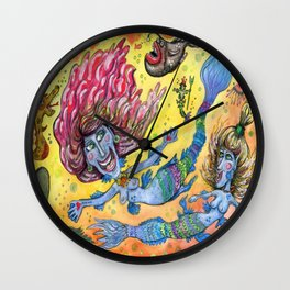 Blue-Finned Mermaids watercolor Wall Clock