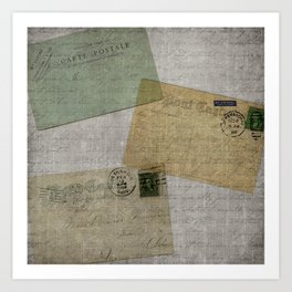 Vintage Postcards with Script Background Art Print