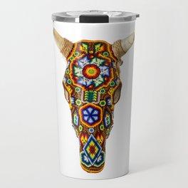 Huichol Bull Skull Travel Mug