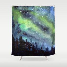 Galaxy Nebula Watercolor Northern Lights Aurora Borealis Shower Curtain