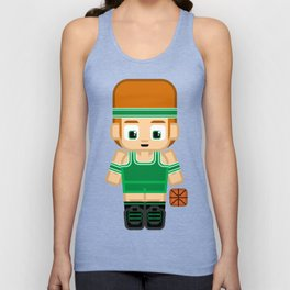 Basketball Green and White Unisex Tank Top