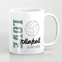 volleyball Mugs featuring Love Volleyball Street Style by raineon