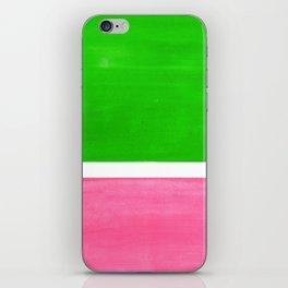 Colorful Bright Minimalist Rothko Color Field Midcentury Vintage Pop Art Petal Pink Leaf Green iPhone Skin