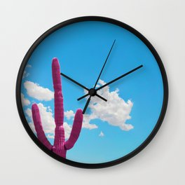 Pink Saguaro Against Blue Cloudy Sky Wall Clock
