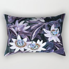 Muted Puce & Blue Passion Flowers Temple of Flora Rectangular Pillow