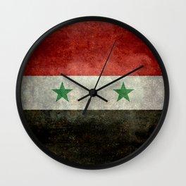 Flag of Syria, vintage retro style Wall Clock