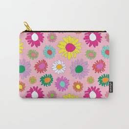 60's Daisy Crazy in Mod Pink Carry-All Pouch