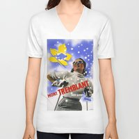 skiing V-neck T-shirts featuring CANADA/winter sports-skiing/vintage by Kathead Tarot/David Rivera